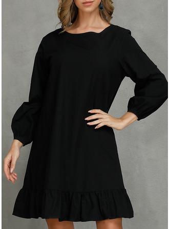 Solid Shiftklänningar 3/4 ärmar Mini Den lilla svarta Fritids Tunika Modeklänningar