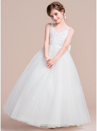 Vestidos princesa/ Formato A Longos Vestidos de Menina das Flores - Tule Sem magas Decote V com fecho de correr/Curvado