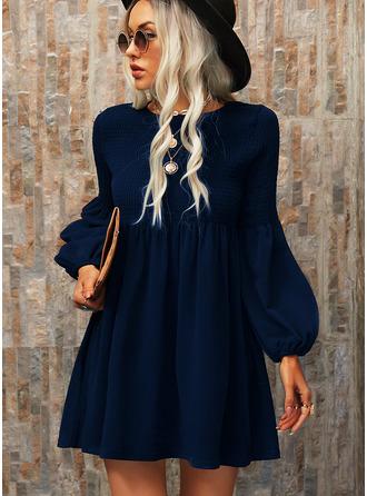 Einfarbig Etuikleider Lange Ärmel Mini Kleine Schwarze Lässige Kleidung Tunika Modekleider