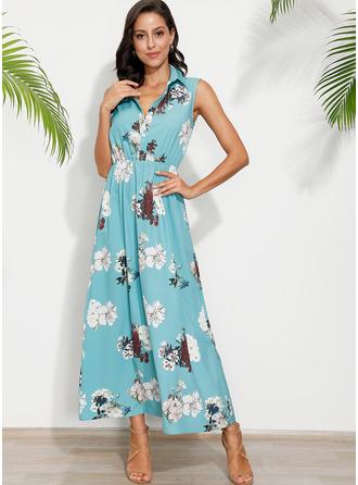 Květiny Tisk Do tvaru A Bezrukávů Maxi Neformální Dovolená Módní šaty