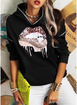 Print Sequins Long Sleeves Hoodie