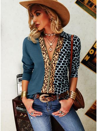 Leopard Print Lapel Long Sleeves Casual Shirt Blouses