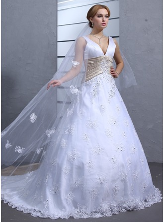 Ball-Gown V-neck Chapel Train Lace Wedding Dress With Sash Beading Appliques Lace
