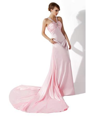 A-Linie V-Ausschnitt Hof-schleppe Charmeuse Festliche Kleid mit Rüschen Perlstickerei