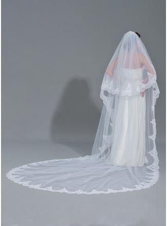 Duas camada Borda com aplicação de renda Catedral véus de noivas com Aplicação