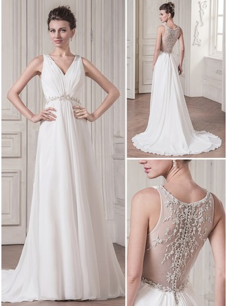 A-Line/Princess V-neck Court Train Chiffon Wedding Dress With Ruffle Lace Beading Sequins