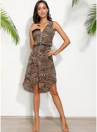 Leopardo Bainha Sem mangas Midi Casual férias Tanque Vestidos na Moda
