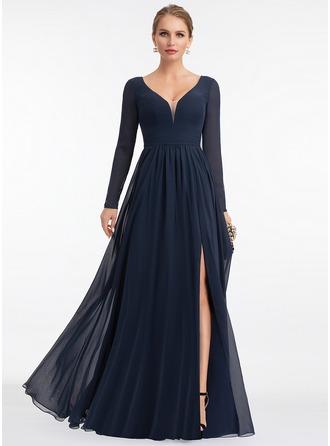 Трапеция V-образный Длина до пола шифон Вечерние Платье с Разрез спереди