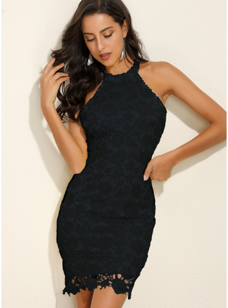 Lace Solid Sheath Sleeveless Mini Little Black Party Dresses