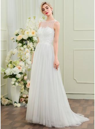 A-Line/Princess Scoop Neck Sweep Train Tulle Wedding Dress
