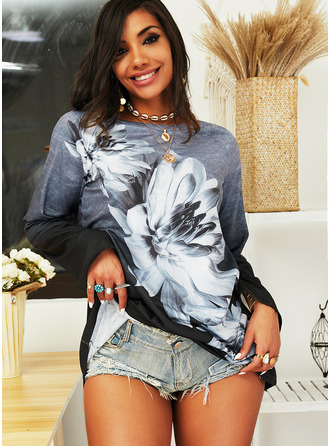 Floral Print Gradient Round Neck Long Sleeves Sweatshirt