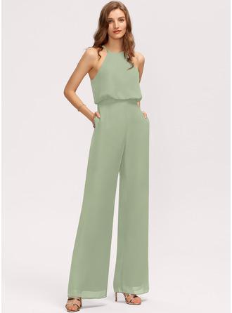 Scoop Neck Floor-Length Chiffon Bridesmaid Dress With Pockets