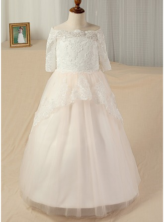 A-Line/Princess Sweep Train Pageant Dresses - Satin/Tulle/Lace 3/4 Sleeves Bateau With Appliques/Back Hole