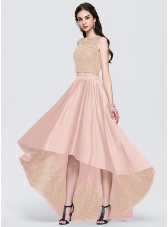 A-Line Scoop Neck Asymmetrical Satin Prom Dresses