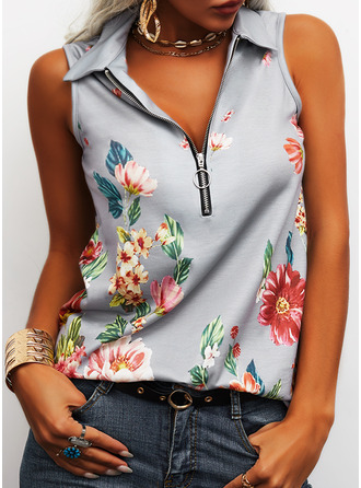Floral Print Lapel Sleeveless Casual Tank Tops