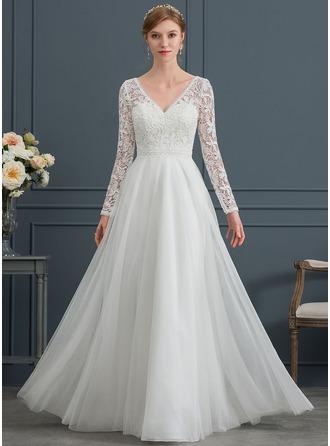 A-Linie V-Ausschnitt Bodenlang Tüll Brautkleid