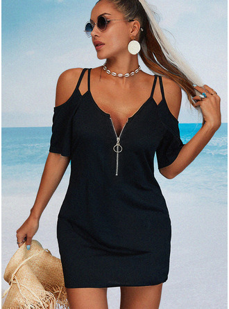 Solid Sheath 1/2 Sleeves Mini Little Black Casual Vacation Dresses