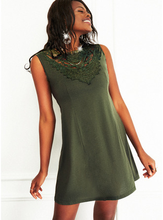Lace Solid A-line Sleeveless Mini Casual Skater Dresses