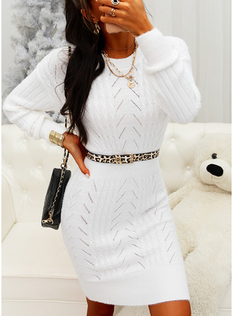Round Neck Casual Long Tight Solid Chunky knit Sweaters