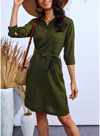 A-line 3/4 Sleeves Midi Casual Skater Dresses