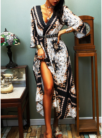 Print A-line 3/4 Sleeves Maxi Party Vintage Skater Dresses