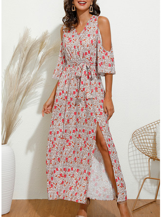Floral Print A-line 3/4 Sleeves Cold Shoulder Sleeve Maxi Casual Elegant Vacation Skater Wrap Dresses