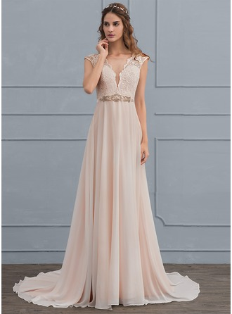 A-Line/Princess Scoop Neck Sweep Train Chiffon Wedding Dress With Beading Bow(s)