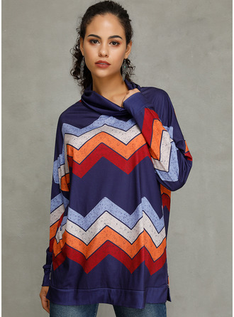 Striped Long Sleeves Cotton Polyester High Neck Вязание Блузы
