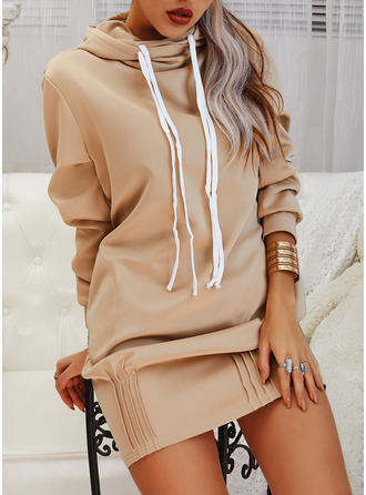 Solid Shift Long Sleeves Mini Casual Sweatshirt Dresses