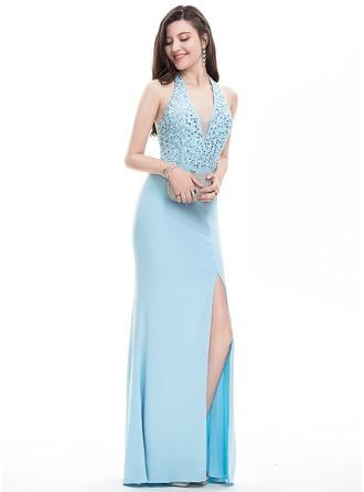 Sheath/Column Halter Floor-Length Jersey Prom Dress With Beading Sequins Split Front