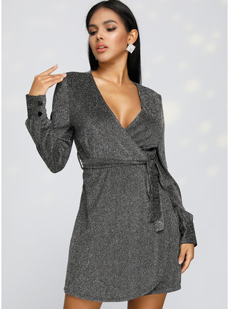 Sequins A-line Long Sleeves Mini Little Black Party Elegant Skater Wrap Dresses