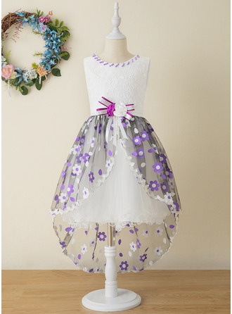 Robe Marquise/Princesse Asymétrique Robes à Fleurs pour Filles - Tulle/Dentelle Sans manches Col rond avec Fleur(s)/À ruban(s)