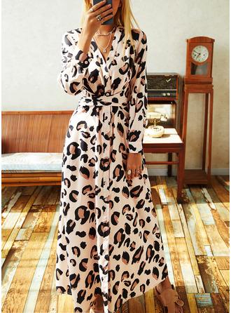 Leopard A-line kjole Lange ermer Maxi Elegant skater Motekjoler
