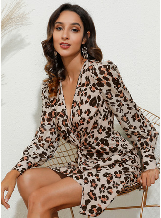 Leopard V-Neck Long Sleeves Puff Sleeves Mini Dresses