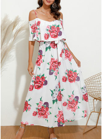 Floral Print A-line 1/2 Sleeves Cold Shoulder Sleeve Midi Casual Elegant Skater Dresses