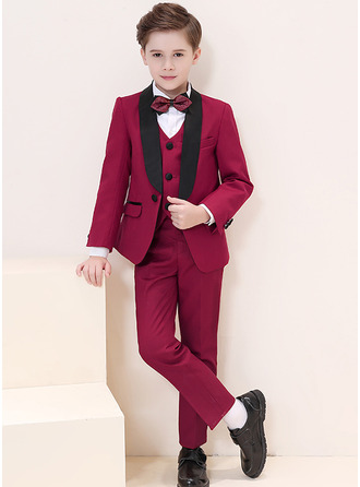 Boys 5 Pieces Formal Ring Bearer Suits /Page Boy Suits With Jacket Shirt Vest Pants Bow Tie