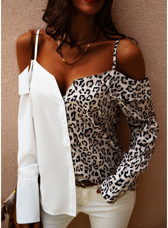 Leopard Patchwork Cold Shoulder Long Sleeves Button Up Casual Shirt Blouses