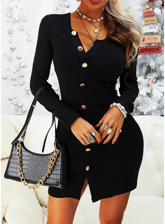 Solide Bodycon Lange Mouwen Mini Zwart jurkje Casual ()