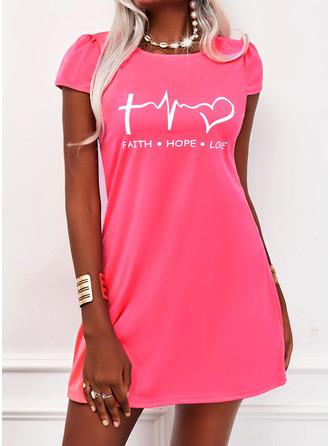 Print Heart Letter Shift Short Sleeves Mini Casual T-shirt Dresses