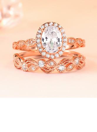 Dames Elegant Zirkoon/S925 Silver met ovaal Kubieke Zirkonia Ringen/Verlovings Ringen/Bruids Sets Haar