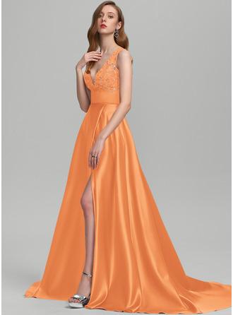 A-Line V-neck Sweep Train Satin Prom Dresses With Sequins Split Front