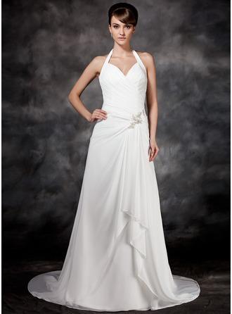 A-Line/Princess Halter Court Train Chiffon Wedding Dress With Beading Cascading Ruffles