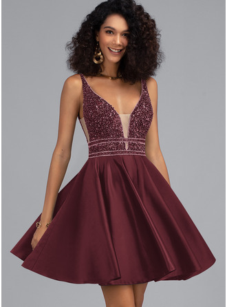 A-Line V-neck Short/Mini Satin Homecoming Dress With Beading Sequins