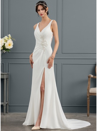 Trumpet/Mermaid V-neck Court Train Satin Wedding Dress With Ruffle Lace Beading