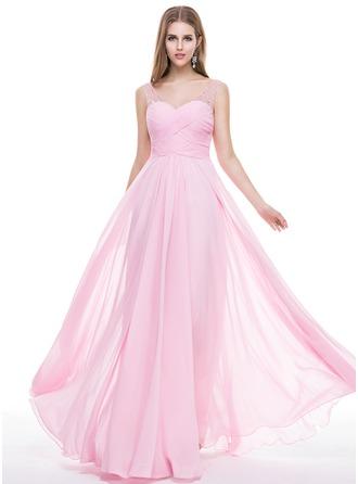 Трапеция/Принцесса V-образный Длина до пола шифон Платье Для Выпускного Вечера с Рябь Бисер блестками
