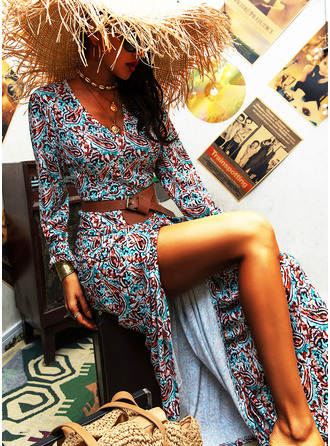 Print Sheath Long Sleeves Maxi Boho Casual Dresses