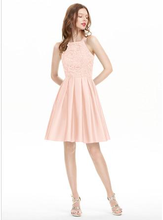 A-Line Square Neckline Knee-Length Satin Homecoming Dress