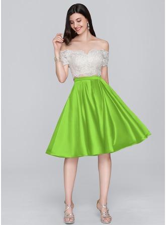 A-Line Off-the-Shoulder Knee-Length Satin Homecoming Dress