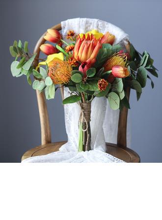 Maravilloso Atado a mano Flores de seda Ramos de novia -