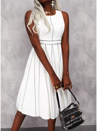 Print Striped A-line Sleeveless Midi Elegant Skater Dresses